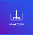rocket tech logo vector image vector image