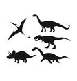 Set of dinosaur silhouettes isolated on white vector image