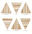 set of hand drawn ethnic triangle vector image vector image