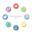social networking set icons flat style vector image vector image