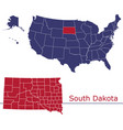 south dakota map counties with usa map vector image