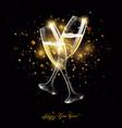 sparkling glasses champagne on black background vector image vector image
