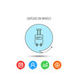 suitcase with wheels icon travel baggage sign vector image