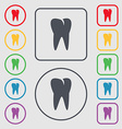 tooth icon Symbols on the Round and square buttons vector image vector image