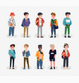 trendy character design on diverse group young vector image vector image