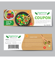 vegetarian food coupon discount template vector image vector image