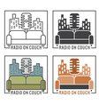 vintage labels of radio with microphone and couch vector image