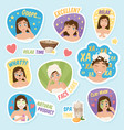woman morning stickers set vector image vector image