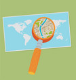 world map and magnifying glass flat vector image