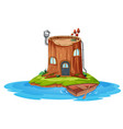 a wooden house on small island vector image