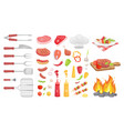 bbq barbecue vegetables meat vector image