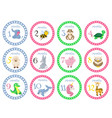 birthday month stickers with animals for babies vector image