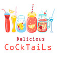 bright colored cocktails vector image vector image
