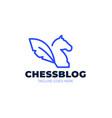 chess blog logo vintage classic badge emblem vector image vector image