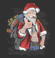 christmas santa claus with tattoo artwork vector image vector image