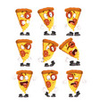 cute funny slice of pizza with different emotions vector image vector image
