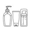 drawing of liquid soap cream and facial wash vector image