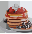 drawn pancakes with berries on a plate vector image vector image