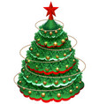 festive christmas pine tree with decorations and vector image vector image