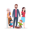 flat family happy hugging people characters vector image vector image