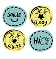four children s logo with handwriting smile it s vector image vector image