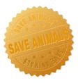 gold save animals badge stamp vector image vector image