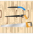 hand saw located on backgraund wooden boards vector image