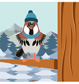 happy sparrow with hat on tree flat background vector image vector image