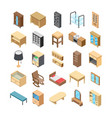 home interior flat icons vector image vector image