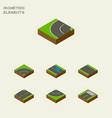 isometric road set of plash bitumen road and vector image vector image