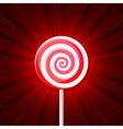 Lollipop Candy on Red Background vector image vector image