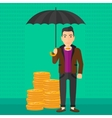 Man with umbrella protecting money vector image