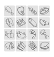 Meat outline linear icons set vector image vector image