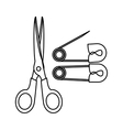 monochrome contour with scissor tool and diaper vector image vector image