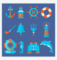 nautical elements in cartoon style marine vector image vector image