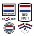 netherlands quality label set for goods vector image