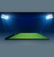 phone on american football arena field with vector image vector image