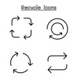 recycle icon set in thin line style vector image vector image