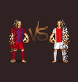red and white soccer players holding vintage vector image vector image