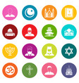 religious symbol icons many colors set vector image vector image