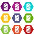 salmon icon set color hexahedron vector image vector image