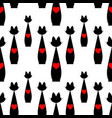 seamless pattern with black cat and red heart vector image