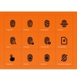 Security finger print icons on orange background vector image vector image