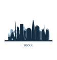 seoul skyline monochrome silhouette vector image vector image