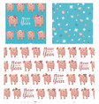 set collection seamless patterns with pigs vector image