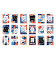 set of cards with colorful bright abstract vector image