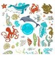 set of cartoon wild animals and plants vector image vector image