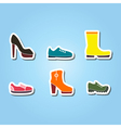 set of color icons with shoes vector image