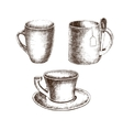 Set of cups with hand-drawing style vector image vector image