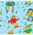 skiers seamless pattern vector image vector image